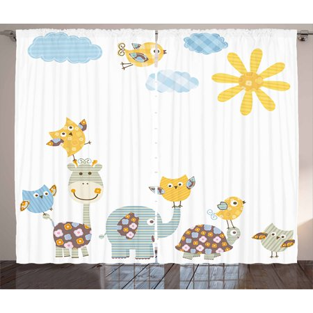 Nursery Curtains 2 Panels Set, Jolly Jungle Creatures Happily Walking in a Sunny Day Cute Animals, Window Drapes for Living Room Bedroom, 108W X 90L Inches, Yellow Pale Blue Pale - Jungle Jollies