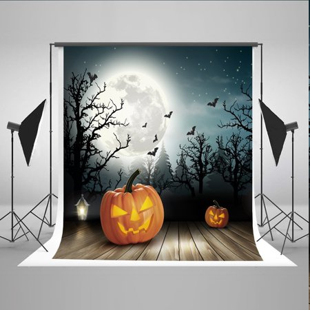 GreenDecor Polyester Fabric 5x7ft Halloween Photo Background Pumpkin Face Moon Bat Photography Backdrops](Halloween Pumpkin Faces Photos)