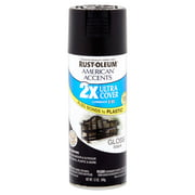 Rust-Oleum American Accents Ultra Cover 2X Gloss Black Spray Paint and Primer in 1, 12 oz