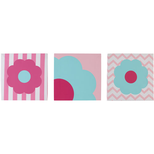 Little Bedding by NoJo Tickled Pink 3-Pack Wall Art