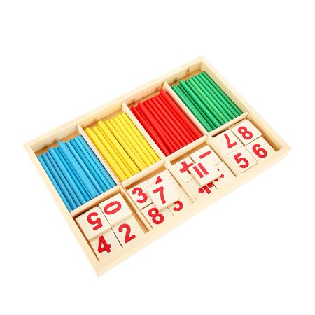 VBESTLIFE Kids Educational Wooden Toy Set Baby Children Preschool Math Learning Props Wood Blocks,Wooden Math Toys,Math Learning Toy - Kids Learning Toys