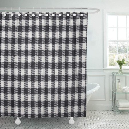 PKNMT Blue Buffalo Black and White Gingham Checked Knitted Pattern Check Plaid Checkered Shower Curtain Bath Curtain 66x72 inch