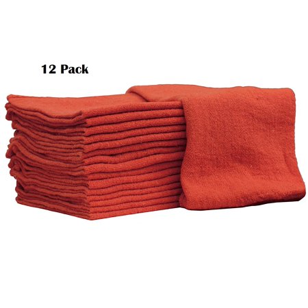 - Auto-Mechanic Shop towels, Rags 100% Cotton Commercial Grade Perfect for your Home Garage & Auto Body Shop (14x14) inches, 12 Pack, (Red)