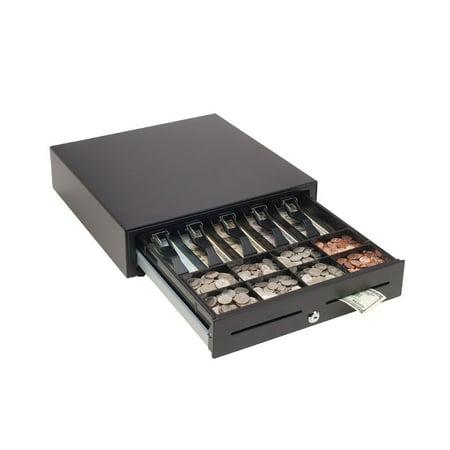 MMF POS 16 x 16 - VAL-u Line Printer Driven Cash Drawer - 5 Bill - 8 Coin - 2 Media Slot - 3 Lock PositionPrinter Driven - Steel, ABS Plastic - Matte Black - 4