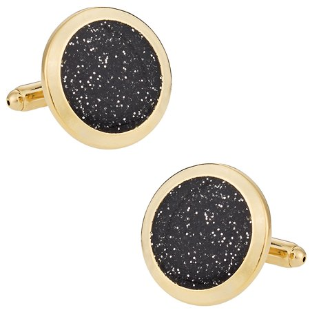 Black Diamond Dust Gold Cufflinks Cuff Links