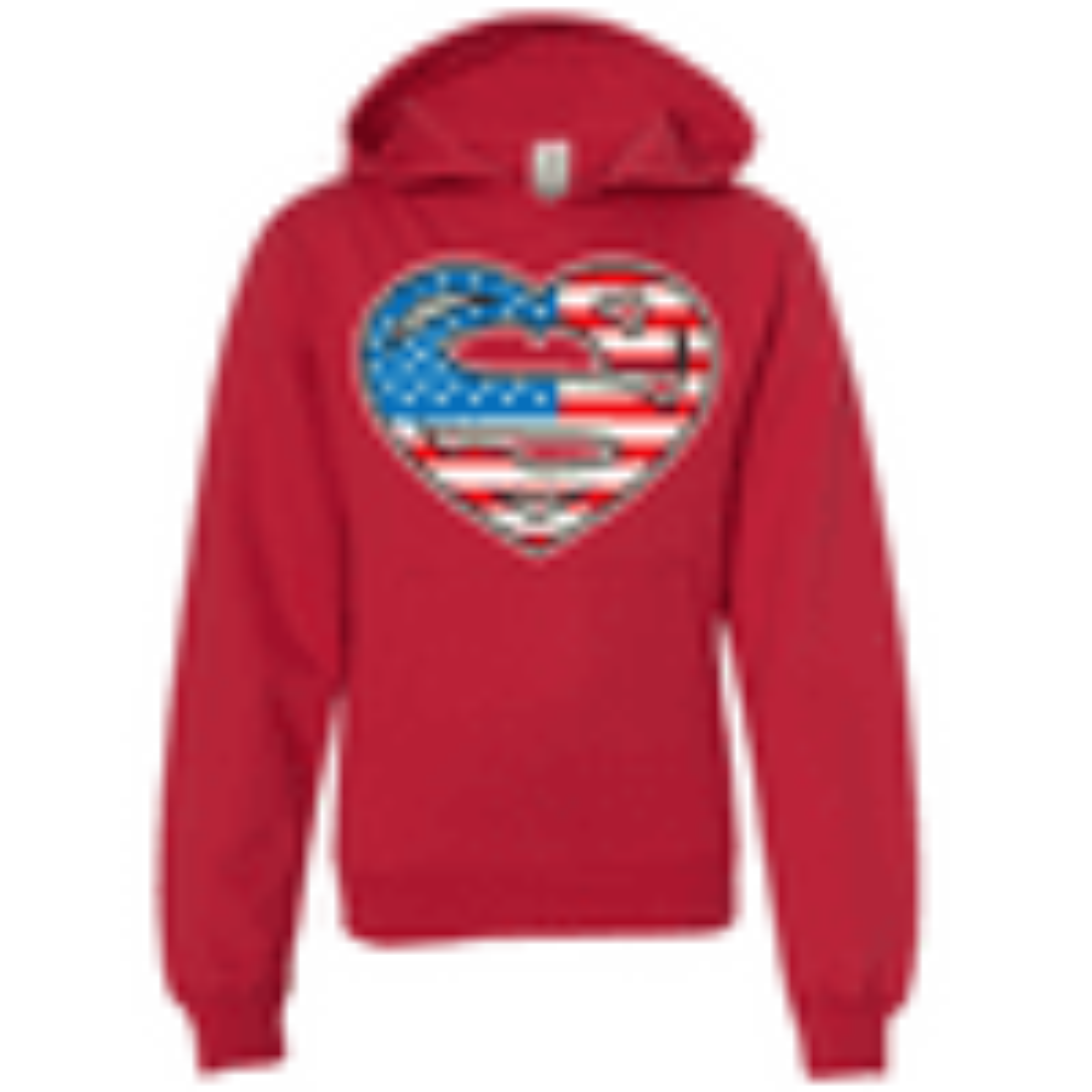 Super American Girl Heart Premium Youth Sweatshirt Hoodie dsc-SprAmcnGrlHrtPRMYTHHDY-redlrg
