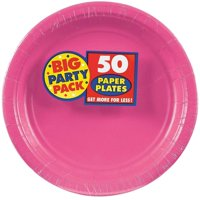 Bright Pink Big Party Pack Dinner Plates, Pack of 50