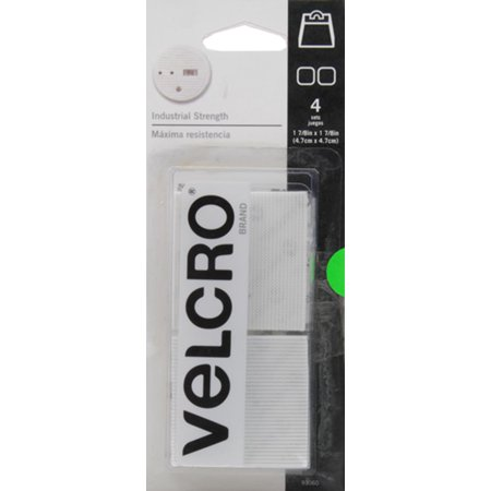 VELCRO Brand Industrial Strength White Squares, 4 Count (Ivory Industrial Toggle)