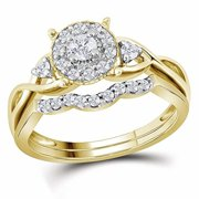 Roy Rose Jewelry 10K Yellow Gold Womens Round Diamond Halo Twist Bridal Wedding Engagement Ring Band Set 1/3-Carat tw