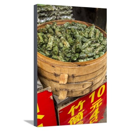 Sticky Rice in Bamboo Leaf, Qibao, Shanghai, China Stretched Canvas Print Wall Art By Jon Arnold