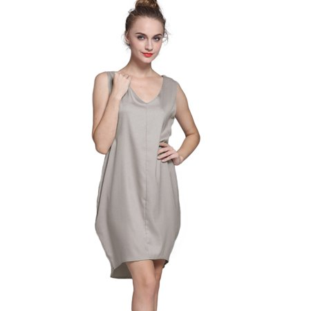 - New Fashion Women Tank Mini Dress V Neck High Low Hem Loose Casual Asymmetric Shift Dress Black/Grey