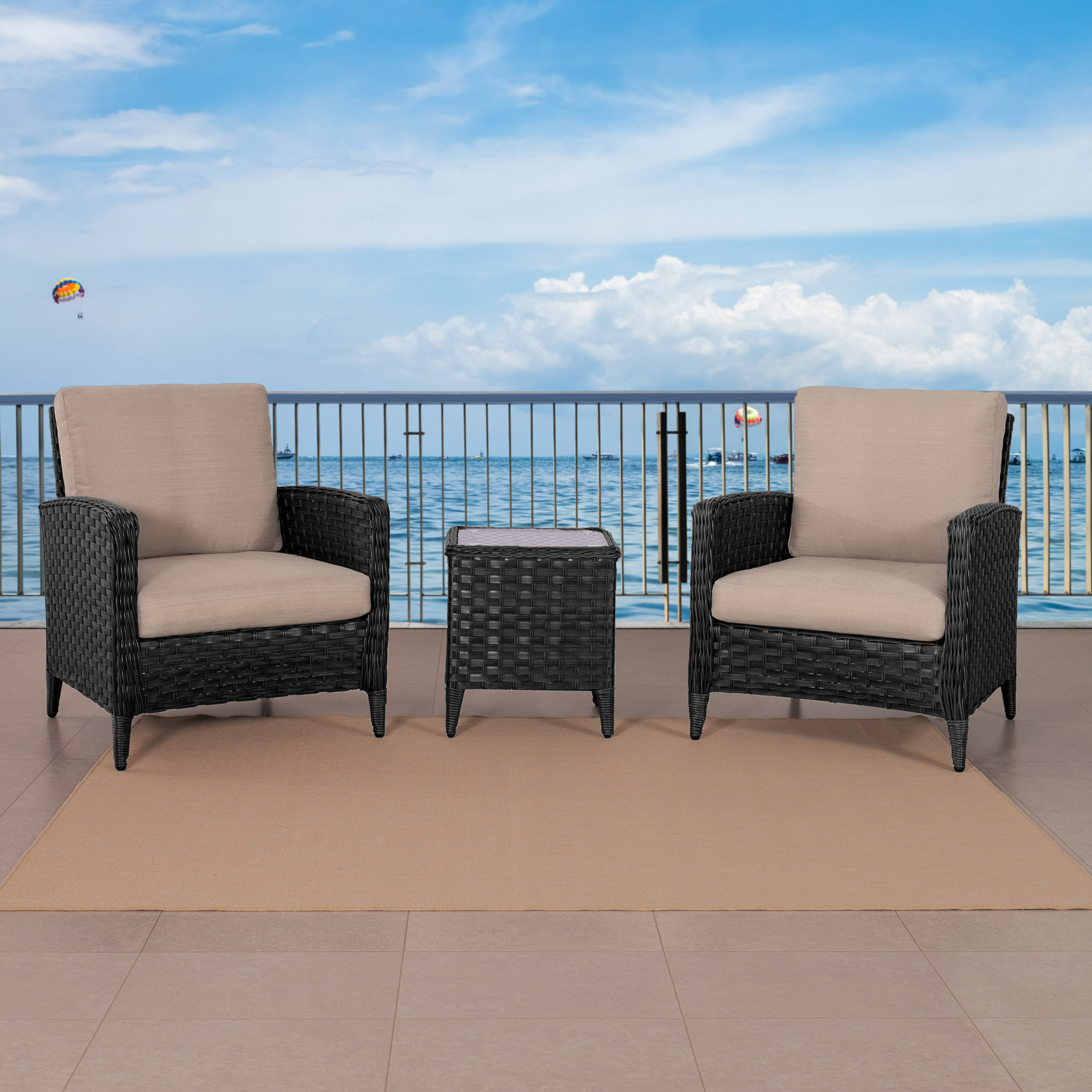 3pc Distressed Charcoal Grey Wide Rattan Wicker Patio Chair Set with End Table - Walmart.com & 3pc Distressed Charcoal Grey Wide Rattan Wicker Patio Chair Set with ...