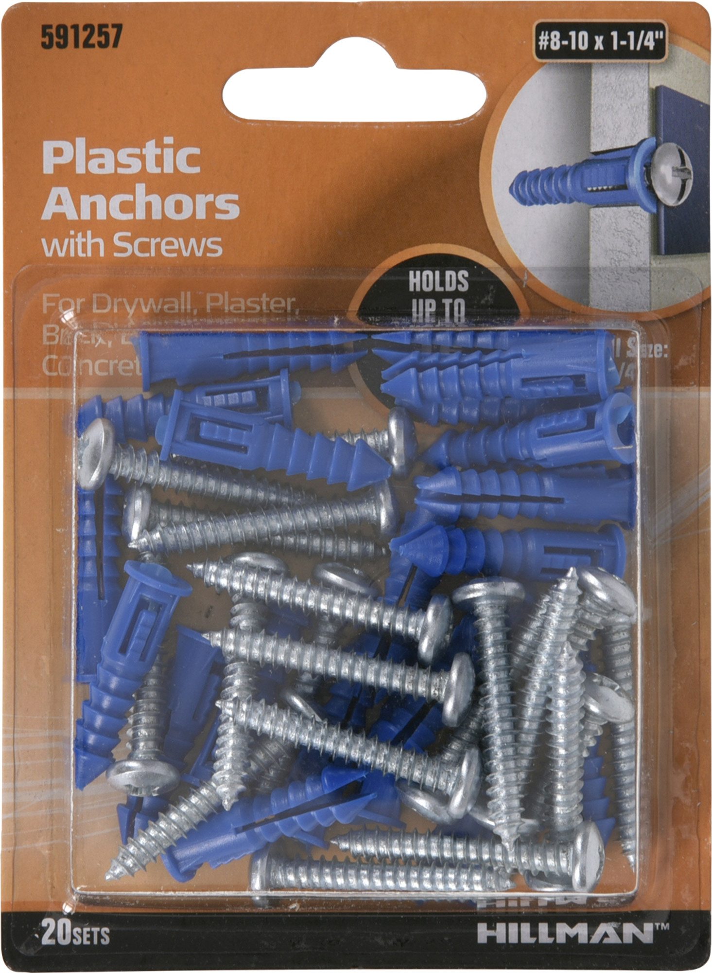 The Hillman Group 5036 8-10 Blue Conical Plastic Anchor 14-Pack