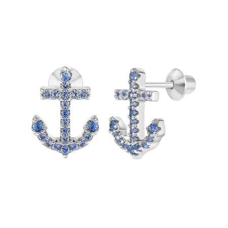925 Sterling Silver Anchor Earrings Blue CZ Nautical Screw Back Girls (Blue Rhinestone Screw Back Earrings)
