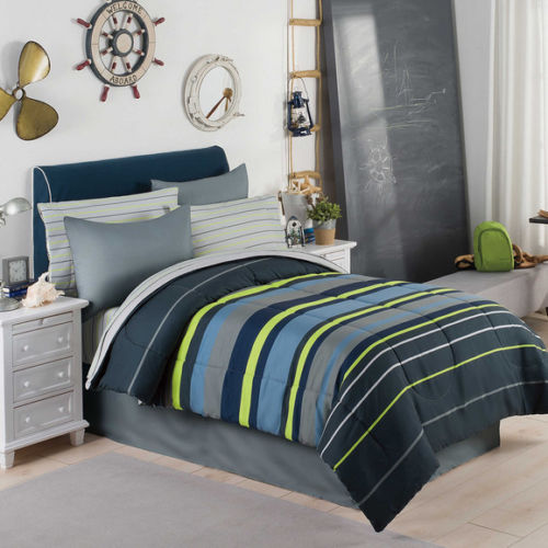 Gray, Blue & Green Boys Stripe Twin Comforter Set (6 Piece Bed In A Bag)