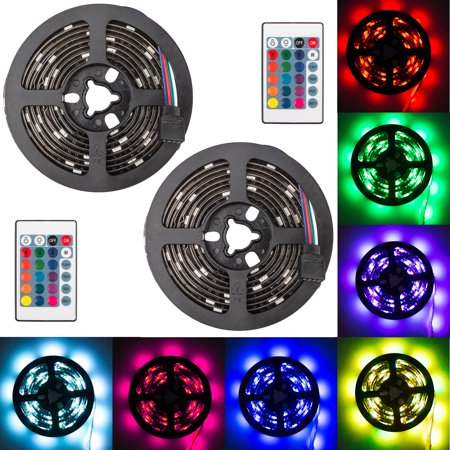 2-pack 6.6ft Super Bright LED Strip+24Key Remote, 5050SMD RGB 16 Color Changable LED Light, Battery Powered Strip Lamp Backlight, Perfect for back lighting, mood lighting, party, camping, party - Led Batteries