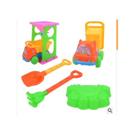 6 Pcs Emulational Seaside Beach Toy Trolley Shovel Set For Playing Sand And Water Children