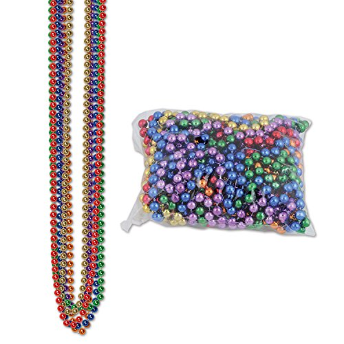 Party Beads - Small Round (asstd B/G/GD/O/PL/R; internet friendly) Party Accessory  (1 count)