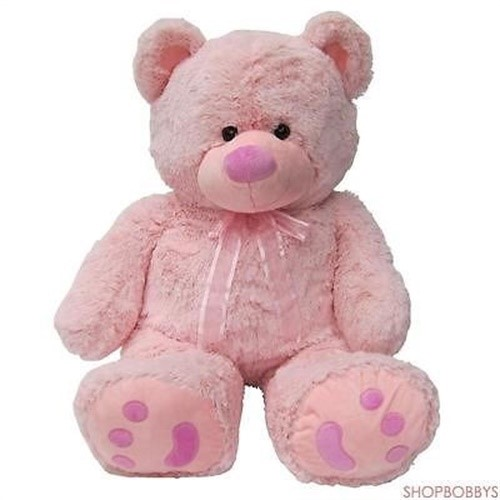 Joon Huge Teddy Bear With Ribbon, Pink