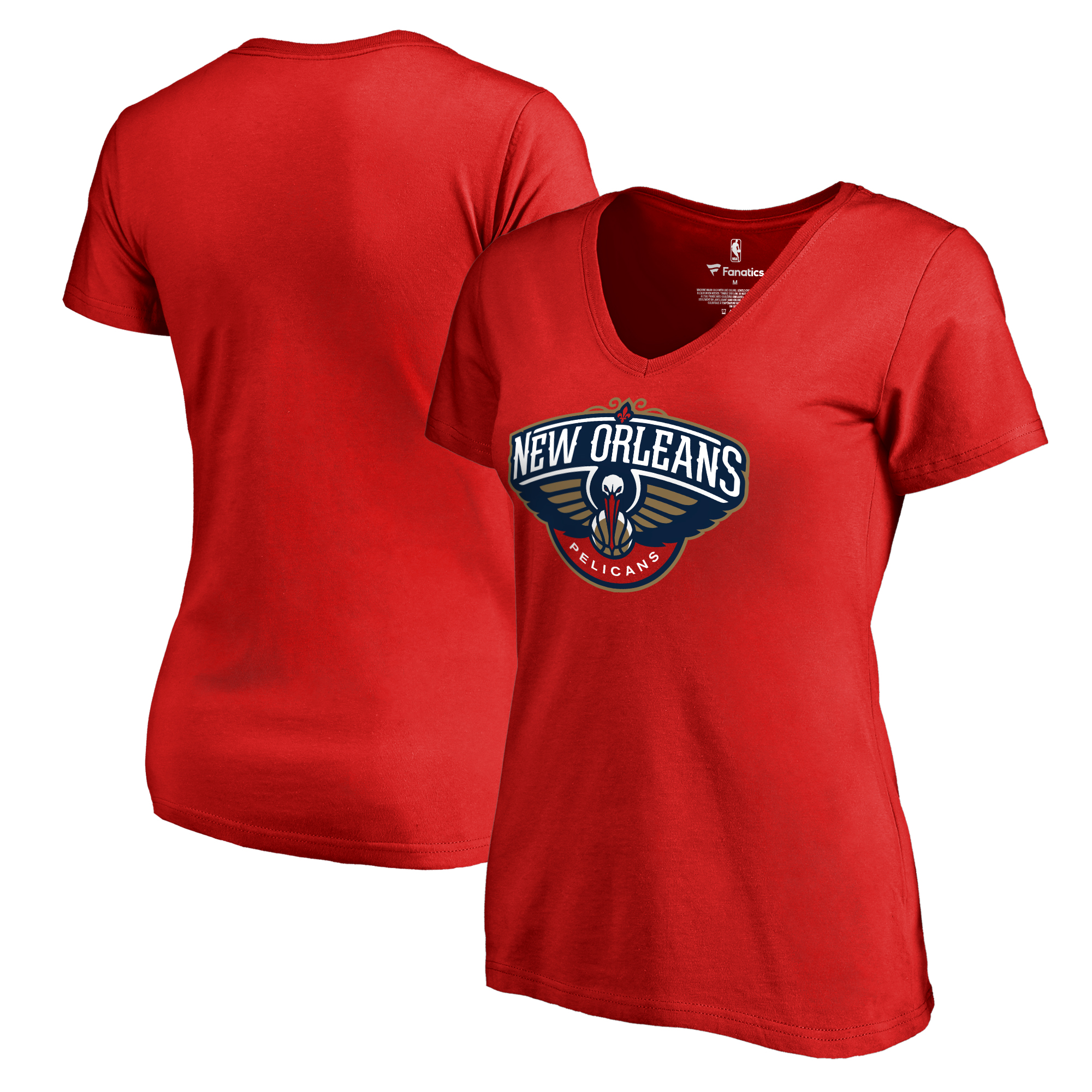New Orleans Pelicans Fanatics Branded Women's Primary Logo V-Neck T-Shirt - Red