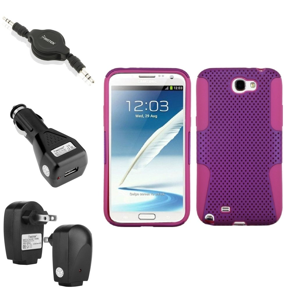 Insten Hot Pink/Purple Hybrid Case 2x Charger Audio Cable For Samsung Galaxy Note 2