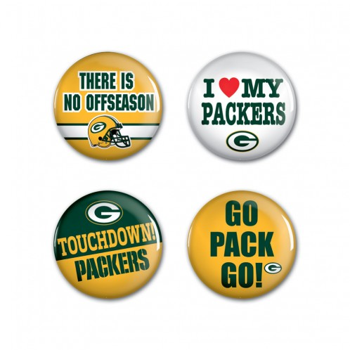 GREEN BAY PACKERS - JEWELRY - 4PK BUTTON
