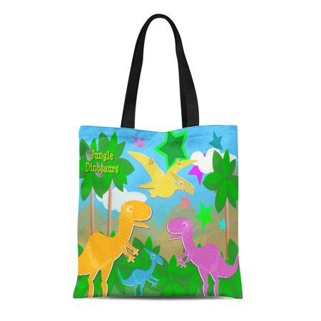 KDAGR Canvas Tote Bag Dinos Jungle Dinosaurs Color Rex Cute Childrens Kids Reusable Handbag Shoulder Grocery Shopping Bags - Childrens Shopping Bag