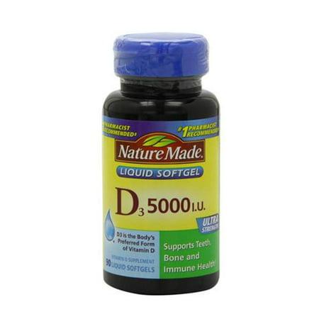 Nature Made La vitamine D3 5000 UI liquide Gélules 90 ch (pack de 2)