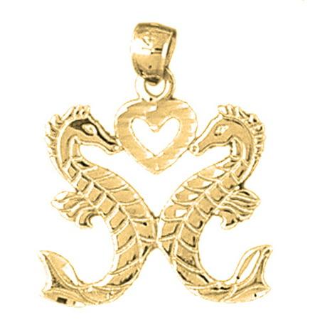 Seahorse Bead Pendant (18K Yellow Gold Seahorse Pendant - 24)
