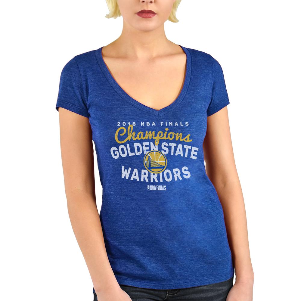 Golden State Warriors Majestic Threads Women's 2018 NBA Finals Champions Tri-Blend V-Neck T-Shirt - Royal
