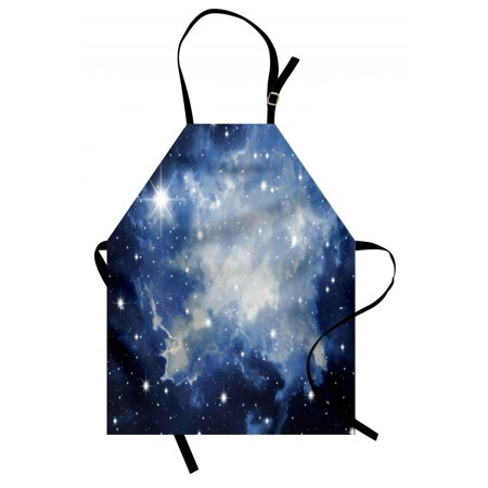 Navy Blue Apron (Constellation Apron Blue Galaxies in Night Sky Celestial Image Stars Fog Magical, Unisex Kitchen Bib Apron with Adjustable Neck for Cooking Baking Gardening, Dark Blue Pale Blue White, by)