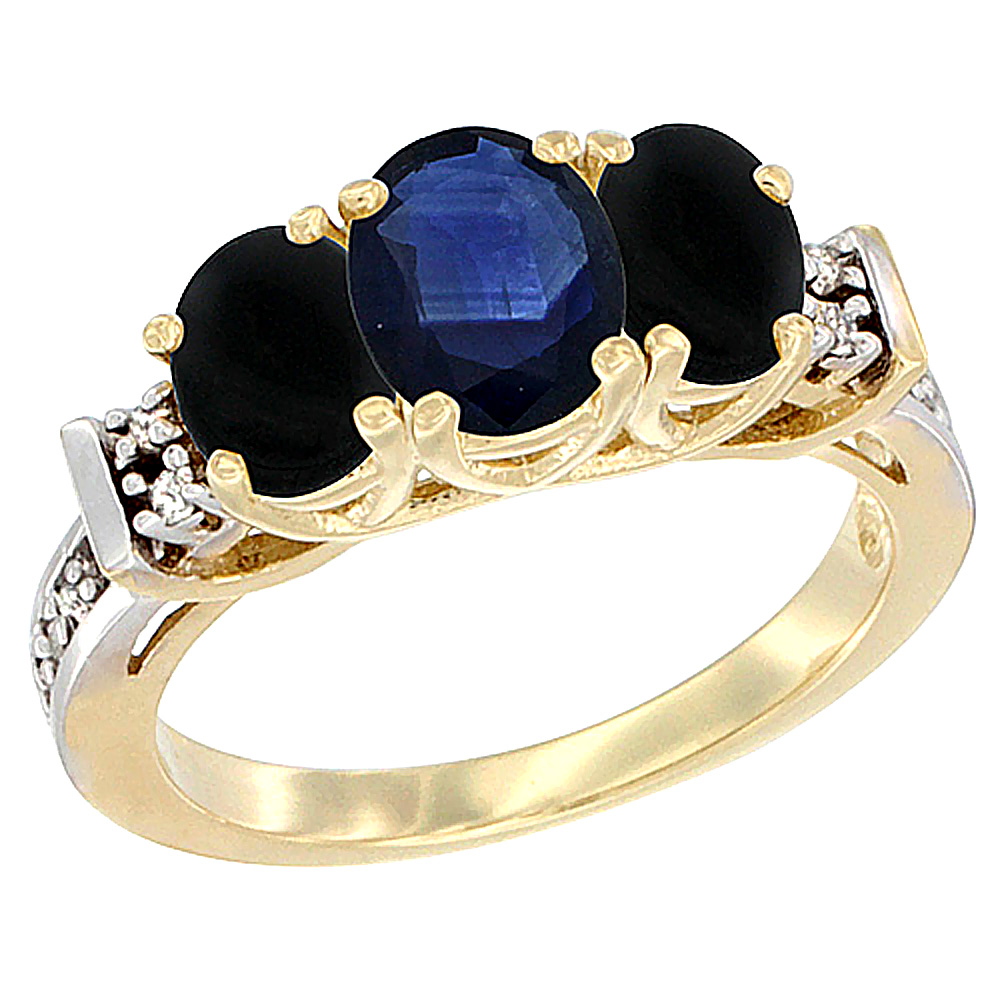 10K Yellow Gold Natural Blue Sapphire & Black Onyx Ring 3-Stone Oval Diamond Accent by WorldJewels