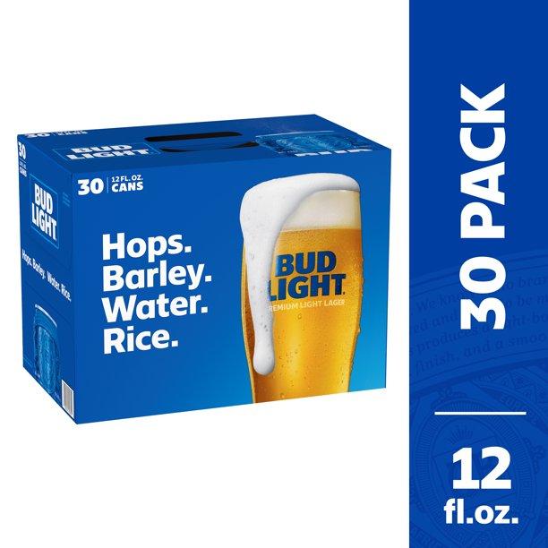 Bud Light Beer, 30 Pack Beer, 12 FL OZ Cans, 4.2?V - Walmart.com - Walmart.com