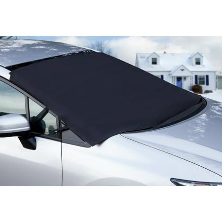 OxGord Auto Windshield Snow Sun Cover Tarp Ice Scraper Frost Removal Car Truck Van (Best Car Windshield Snow Cover)