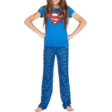 Girl's Supergirl Yoga Short Sleeve 2 Piece Pajama Sleep Set (Big Girls & Little Girls)