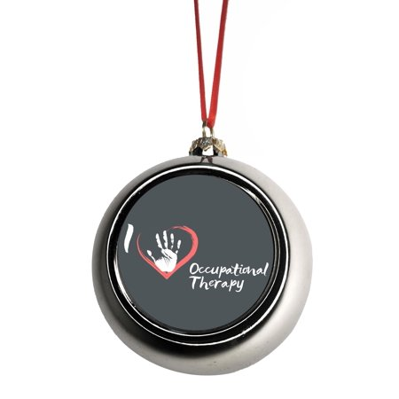 I Love Occupational Therapy Handprint Heart - Gift Appreciation Bauble Christmas Ornaments Silver Bauble Tree Xmas Balls