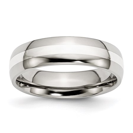 Stainless Steel Sterling Silver Inlay 6mm Polished Band Ring 6 to 13 Size Ring Size 6
