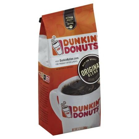- Dunkin' Donuts Original Blend Medium Roast Ground Coffee, 12 Oz