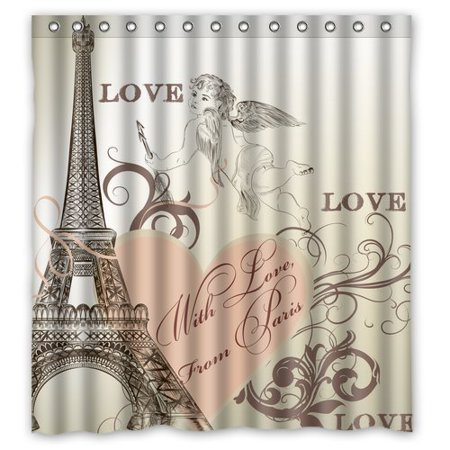 HelloDecor With Love From Paris Eiffel Tower Shower Curtain Polyester Fabric Bathroom Decorative Size 66x72