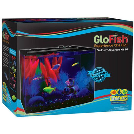 Glofish 3 Gallon Aquarium Kit With Cover  Frame  Leds  Power Supply And Filter