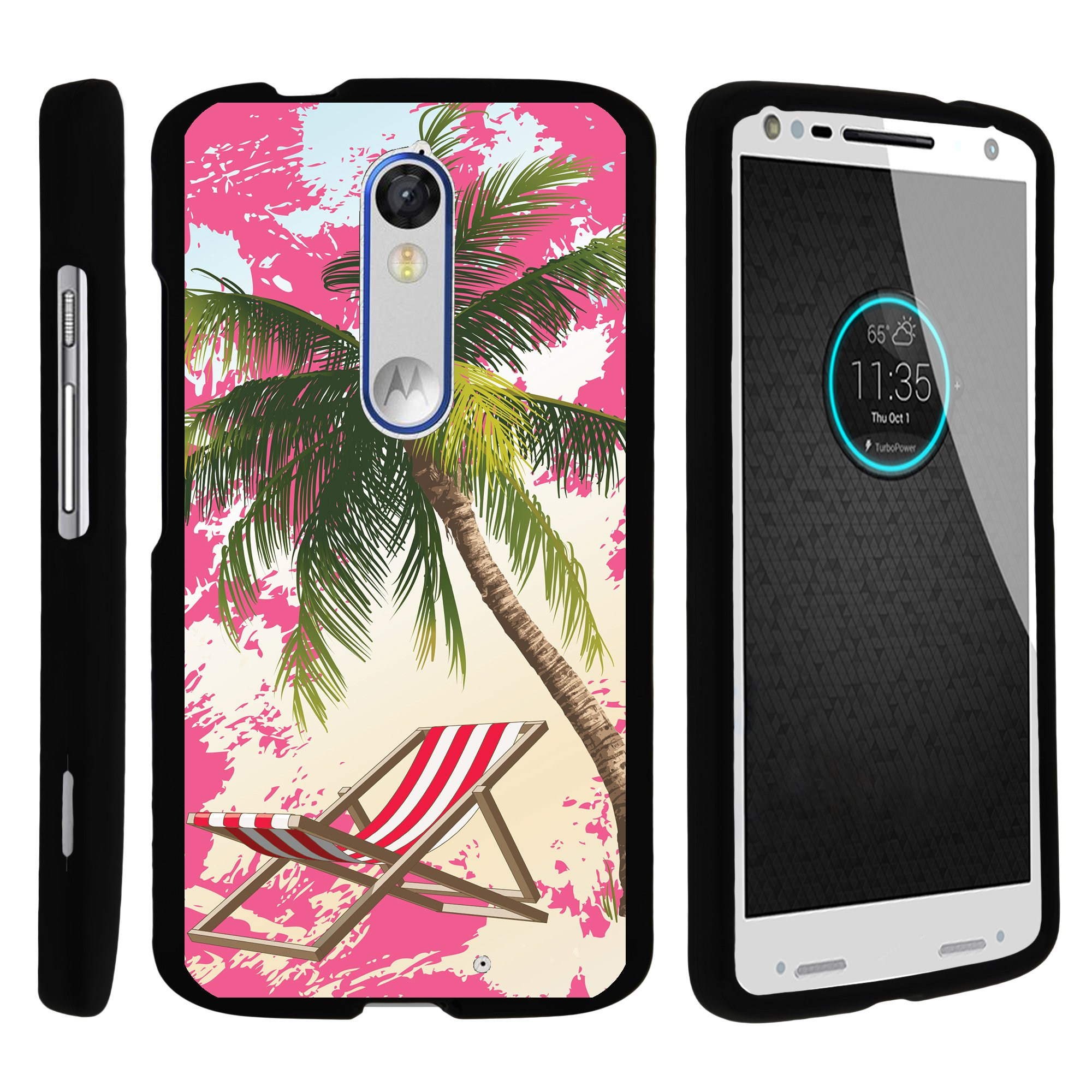 TurtleArmor ®   For Motorola Droid Turbo 2 XT1585, XT1580   Kinzie   Moto X Force [Slim Duo] Two Piece Hard Cover Slim Snap On Case - Coastal Shore