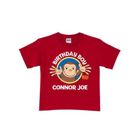 Personalized Curious George Birthday Toddler Boy Red T-Shirt