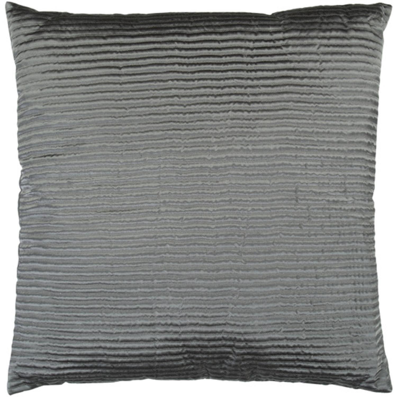 "20"" Charcoal Gray Shiny Ribbed Decorative Throw Pillow"