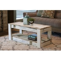 Product Image White Farmhouse Coffee Table With Shelf