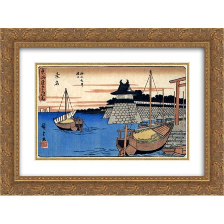 Hiroshige 2x Matted 24x18 Gold Ornate Framed Art Print 'Kuwana'