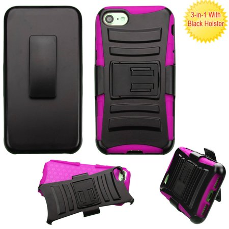 Advanced Armor Hybrid Kickstand Case with Holster for iPhone 8 / 7 - Black Hot Pink