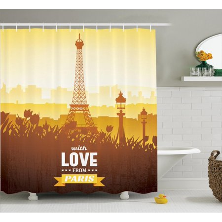 Paris Decor Shower Curtain Set Eiffel Tower With Tulip And City Silhouette Nostalgic Town Floral