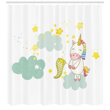 Unicorn Shower Curtain Baby Mystic Girl Sitting On Fluffy Clouds And Hunting Nursery Image Print Fabric Bathroom Set With Hooks Green Yellow