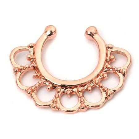 1pc Women Fake Septum Clicker Hoop Nose Ring Non Piercing Hanger