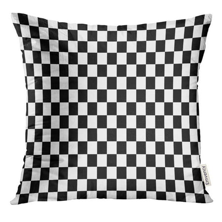 CMFUN Brown Checkerboard Black and White Squares Tan Board Pillow Case 20x20 Inches Pillowcase - Black & White Checkered